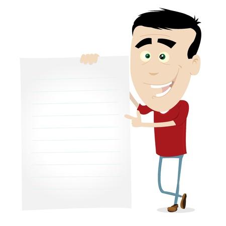 unmarried: Ilustraci�n de un hombre joven sosteniendo un documento para su mensaje