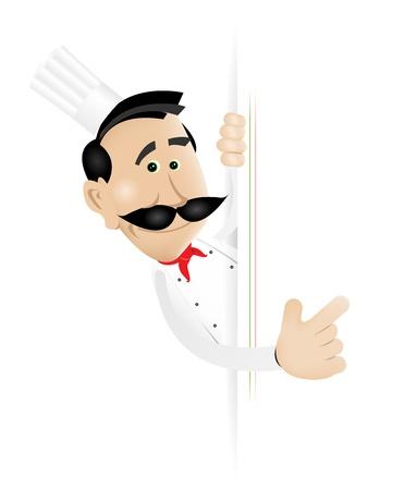 welcome smile: Ilustraci�n de un hombre blanco de dibujos animados cocinar con un cartel en blanco para poner su mensaje o su men� en Vectores