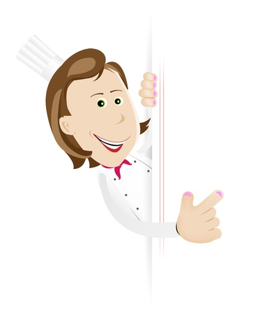 Illustration of a cartoon white cook woman holding A Blank sign to put your message or your menu in Vector