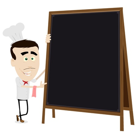 special character: Illustration of a young chef cook holding a blackboard to put your message in
