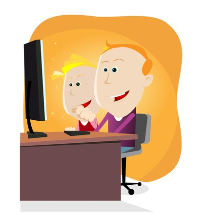 computer education: Illustration of a little boy and a little girl looking at their computer with amazement