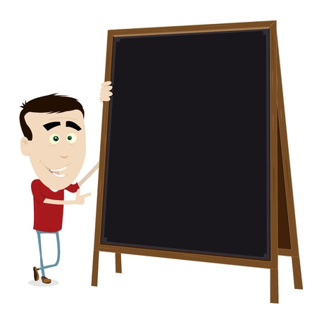 tutorial: Illustration of a cool cartoon young teacher showing some information (lesson, menu, list) on a wood blackboard