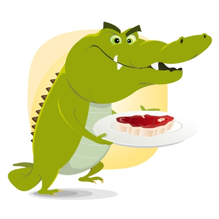 crocodile: Ilustración de un cocodrilo de dibujos animados a punto de comer un bistec grande