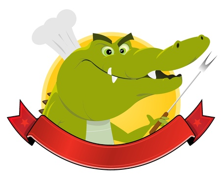 caiman: Illustration of a cartoon crocodile cook inside banner Illustration