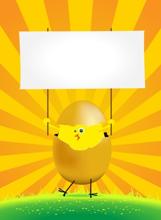 Illustration of a tiny easter chick in a spring or summer landscape, holding a blank space to put your message in Vector