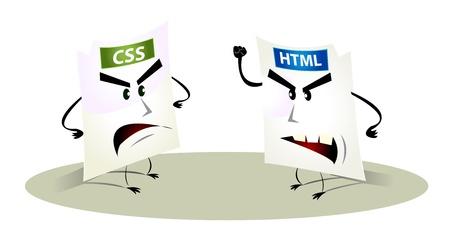 css: Illustrazione di cartoni animati html e css rappresentanza file che presentano problemi insieme