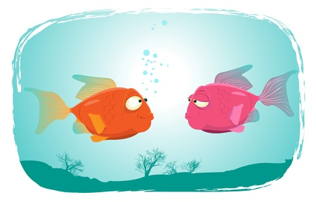 Illustration of a couple of cartoon red fishes falling in love Vector