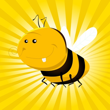 Illustration of a cute cartoon bee ready to make honey from flowers Vector
