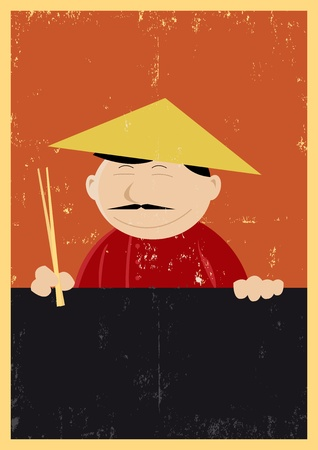 likes: Illustration of a chinese cook showing menu, for those who likes nems, chinese food Illustration