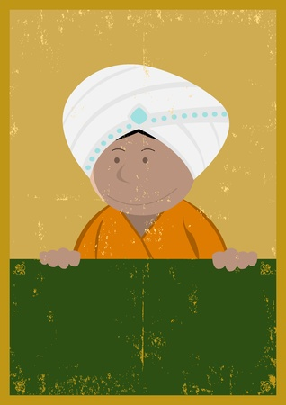 kurta: Illustration of an indian chef cook holding a blackboard with grunge texture