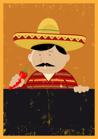 enchiladas: Illustration of a Mexican chef cook holding a blackboard with grunge texture