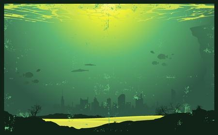 submarino: Ilustraci�n de un paisaje urbano bajo el agua con una textura grunge