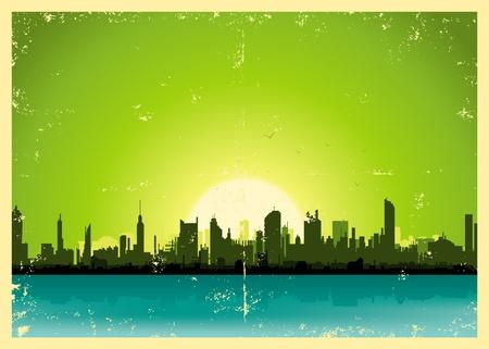夏にグランジ都市景観のイラスト