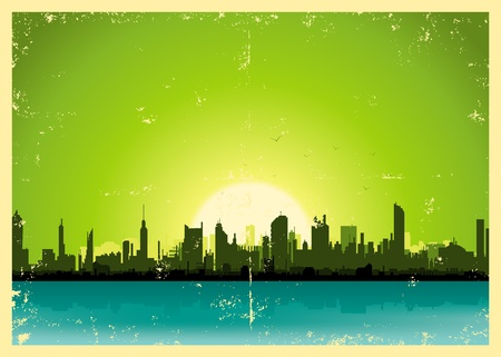 Illustration of a grunge city landscape in the summer Vector