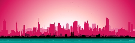 retro sunrise: Illustration of a city landscape in the morning with pink sky Illustration