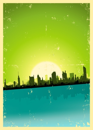 retro sunrise: Illustration of a grunge city landscape in the summer