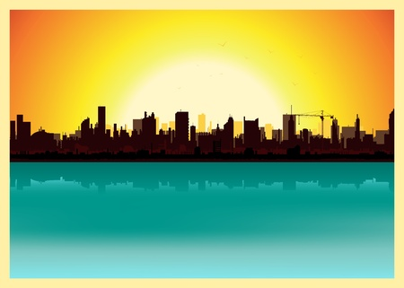 Illustration of a city landscape in the summer Vector