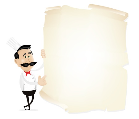french: Illustration of chef cook showing the restaurant menu on a parchment