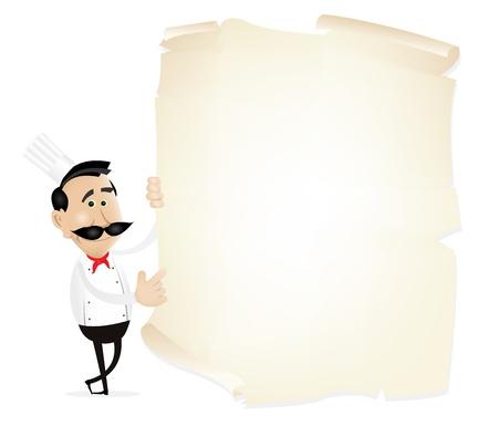 frances: Ilustración del cocinero que muestra el menú de un restaurante en un pergamino