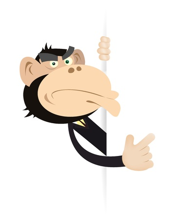 gorilla: Illustration of a cartoon monkey businessman showing a blank sign