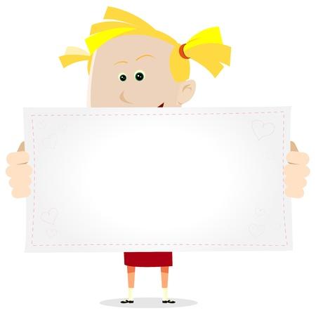 niños con pancarta: Ilustración de una chica linda de la historieta joven que ofrece a su madre un dibujo o un mensaje de amor Vectores