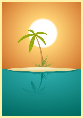 promised: Illustration of a designed heavenly simple tropical island for your vacations