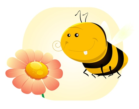 Illustration of a cute cartoon bee near a flower Vector