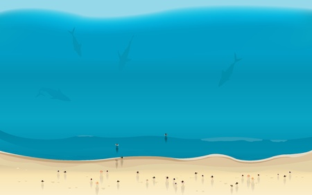 approaching: Illustration of a summer beach seen from the sky with sharks silhouettes approaching people in the sea