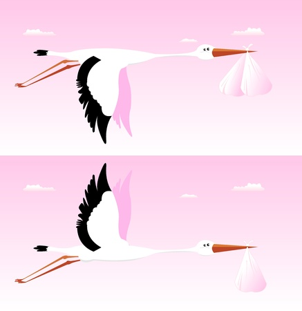 Illustration of a stork delivering bag for girl birth Vector
