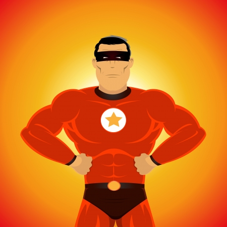 vendicatore: Illustrazione di un fumetto super-eroe, in piedi con orgoglio Vettoriali