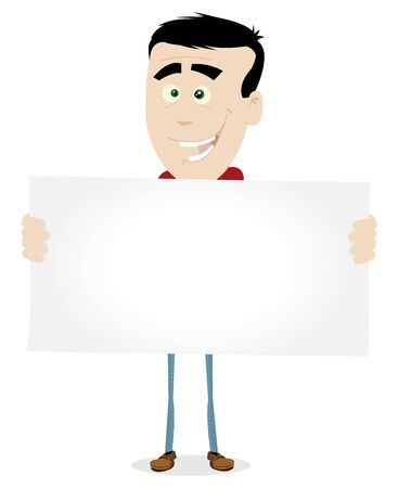 Illustration of a teen holding a blank sign or advertisement message Vector