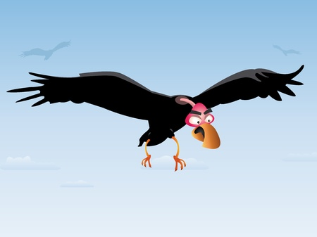 Illustration of a cartoon vulture flying in the sky Vettoriali