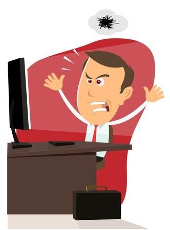 in trouble: Ilustraci�n de un hombre de negocios dibujos animados enojado encontrar errores en su m�quina de la computadora