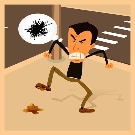 insulto: Ilustraci�n de un hombre recibiendo furioso porque anduvo en un excremento de perro