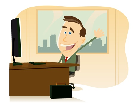 happy employees: Illustration of a happy cartoon businessman at his office, back to work Illustration