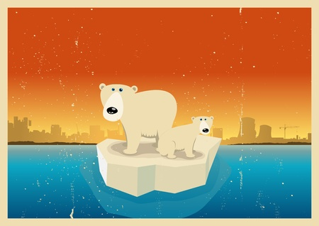 sea pollution: Illustration of a polar bear family approaching civilization on a ice block because of global warming Illustration