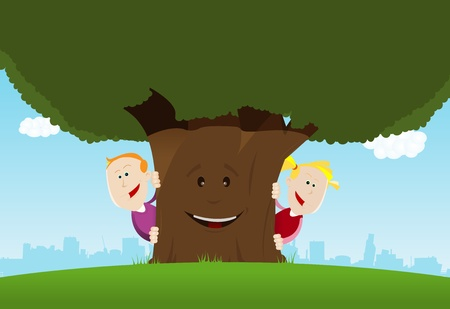 Illustration of cute cartoon kids hiding behind an nice anthropomorphic tree Vector