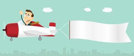 漫画のビジネスマンが飛行機の操縦とテキスト メッセージ用のバナーを引っ張ってくるのイラスト