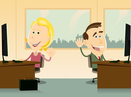 Illustration of two workers, male and female, happy back to work at the office Vector