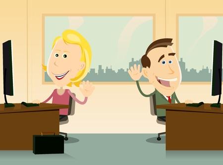 actitud positiva: Ilustraci�n de dos trabajadores, hombres y mujeres, de nuevo feliz de trabajar en la oficina Vectores