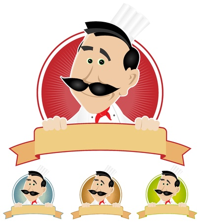 Illustration of a cartoon chef cook holding banner Vector