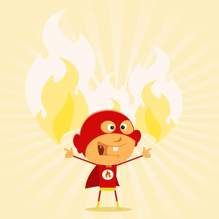 Illustration of a cartoon-like super hero kid showing his firing super power Vector