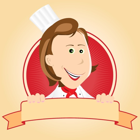Illustration of a cartoon chef cook woman banner Vector