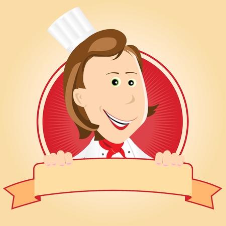 cocinero italiano: Ilustraci�n de un banner de dibujos animados cocinera cocinero