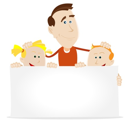 child holding sign: Illustration of happy chidren and their father wishing a happy anniversary to their mother