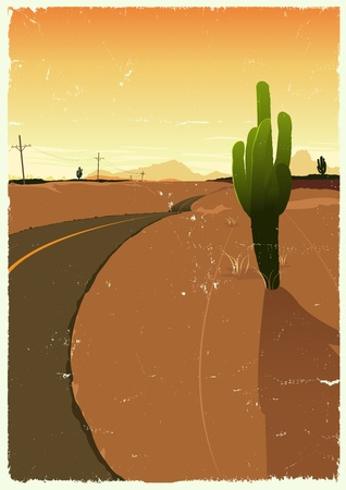 Illustration of a background poster with desert landscape, road toward horizon in the  summer Vector