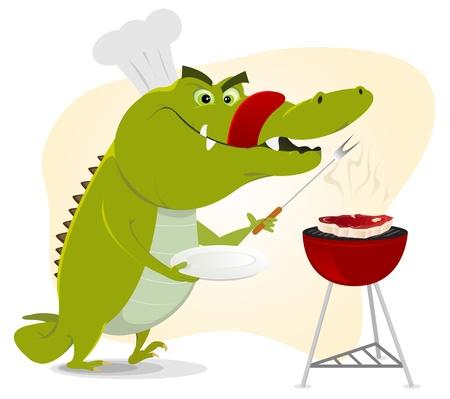 carne a la brasa: Ilustraci�n de un cocodrilo de dibujos animados a tener una fiesta de barbacoa! Vectores