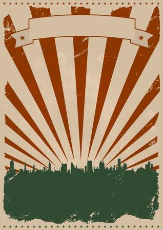 flyer background: Illustratie van een grunge Amerikaanse poster met wolkenkrabbers silhouet