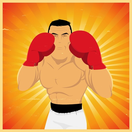 ko: Illustration of a grunge boxer ready to do left jab Illustration