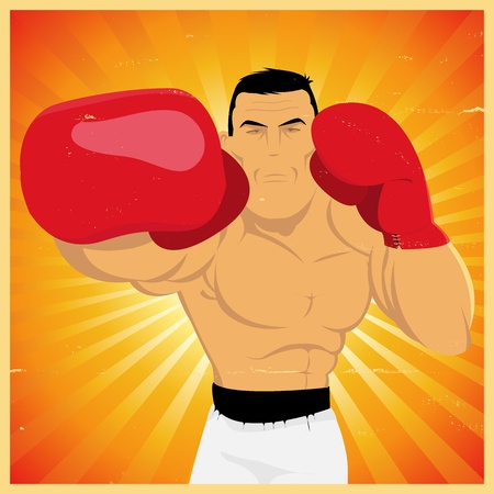 male boxer: Illustration of a grunge vintage cartoon boxer making a right jab counterpunch for championship or competition poster